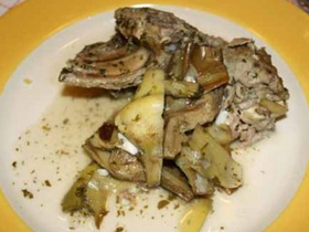Capretto con i carciofi - Kid goat with artichokes